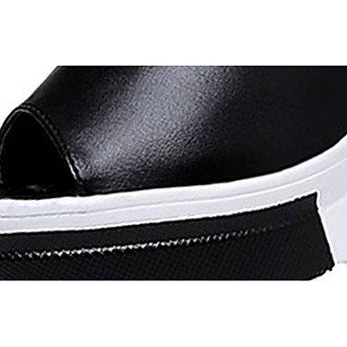 Talons Noir Combinaison Compensé Femme Lvyuan Décontracté Bride Arrière À Talon A 5 White Polyuréthane Eté ggx 7 Cm Blanc Chaussures RnxOZx