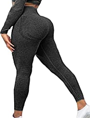 SEASUM Womens High Waist Seamless Leggings Workout Yoga Stretch Pants Butt Lift Tummy Control Tights