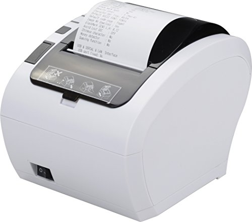 80MM USB Thermal Receipt POS Printer MUNBYN White Color with Auto Cutter USB Ethernet LAN Port for Home Business Support Cash Drawer ESC/POS