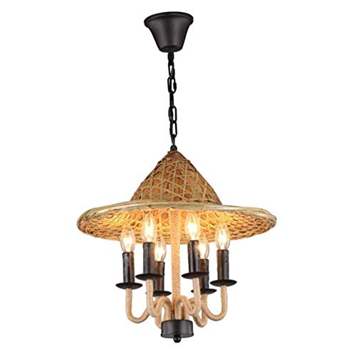 (6 Lights Industrial Rustic Farmhouse Kitchen Island Barn Ceiling Pendant Light Fixture Vintage Design Style Straw Hat Chandeliers Lighting Dining Room Bar Bathroom Hemp Rope Iron Decor Hanging Lamp)