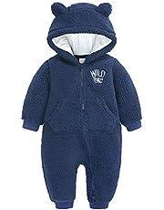 Baby snödräkt fleece sparkbyxor huva jumpsuit höst vinter varm onesies långärmad kläder för pojkar flickor 0-18 månader