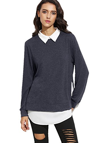 Romwe Women's Classic Collar Long Sleeve Curved Hem Pullover Sweatshirt Grayish-Blue M