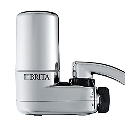 Brita Tap Water Filter System, Water Faucet Filtration System with Filter Change Reminder, Reduces Lead, BPA Free, Fits Standard Faucets Only - Chrome