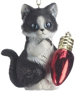 Kitten Playing with Red Bulb Cat Christmas Tree Ornament