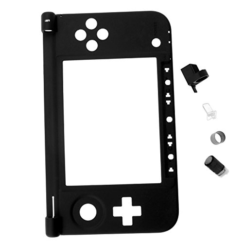 Replacement Shell Housing Bottom Middle Plastic Frame Black For Nintendo 3DS LL / XL + Hinge Parts by SING F LTD