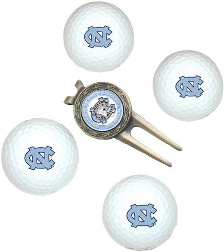 NCAA North Carolina Tar Heels 4 Golf Ball And Divot Tool Set (Carolina Ball North Golf Tar Heels)