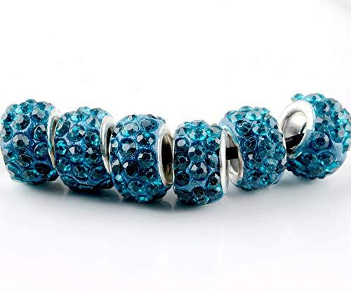 (Hemau 20Pcs Silver Murano Glass Beads LAMPWORK Fit European Charm Bracelet DIY Jewelry | Model BRCLT - 1548 |)