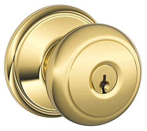 - Schlage F51-AND Andover Keyed Entry F51A Panic Proof Door Knob, Lifetime Polished Brass