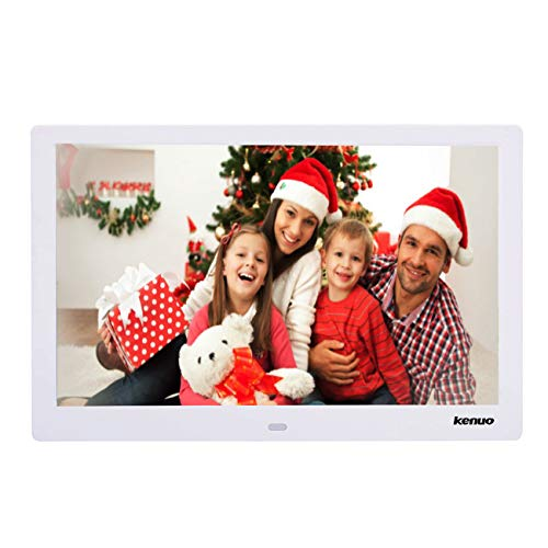 Digital Photo Frame 15 Inch,Kenuo Advertising Media Player 16:9 with 1280 x 800 HD LED Screen & Remote Control and Auto On/Off Timer – White