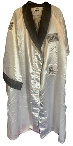 (Cassius Clay Autographed Custom Made White Boxing Robe Signed in Black, Steiner Card)