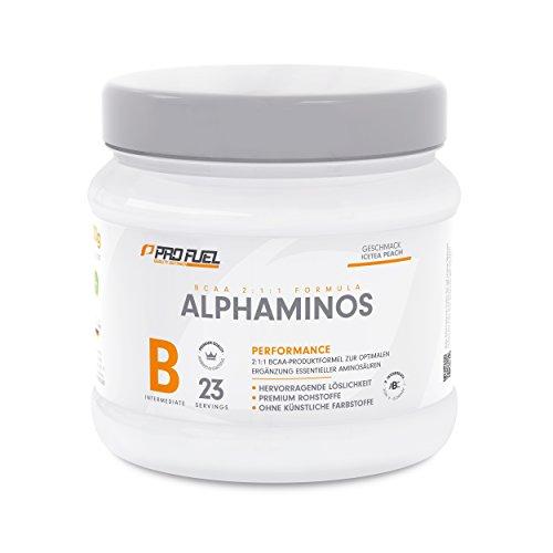 BCAA Pulver (Aminosäuren) sensationeller Geschmack | Aminos 2:1:1 (Leucin, Isoleucin, Valin) Hochdosiert, Vegan | Für Muskelaufbau, Abnehmen & Sport | PROFUEL Alphaminos 300g / IceTea PEACH