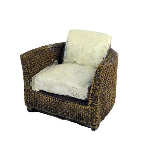 Melody Jane Dollhouse Brown Rattan Tub Chair Resin Modern Conservatory Garden Furniture (Conservatory Modern Furniture Rattan)