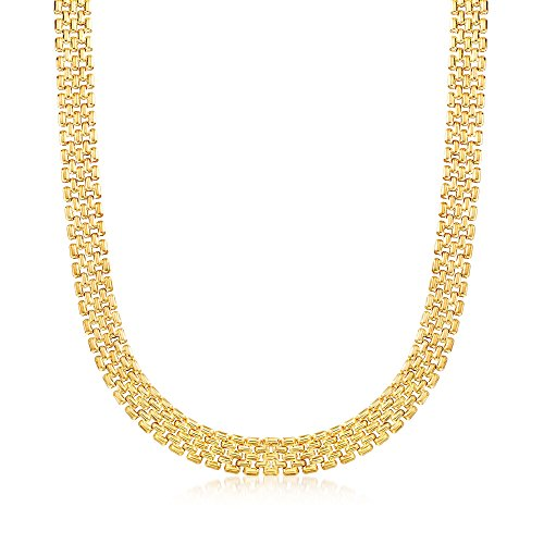 (Ross-Simons Italian 12mm 18kt Yellow Gold Over Sterling Silver Panther-Link Necklace )