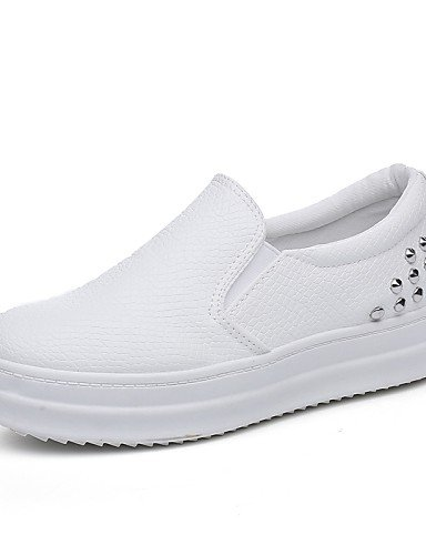 ZQ gyht Zapatos de mujer-Plataforma-Creepers / Punta Redonda / Punta Cerrada-Mocasines-Casual-Semicuero-Negro / Blanco , white-us8.5 / eu39 / uk6.5 / cn40 , white-us8.5 / eu39 / uk6.5 / cn40 white-us8.5 / eu39 / uk6.5 / cn40