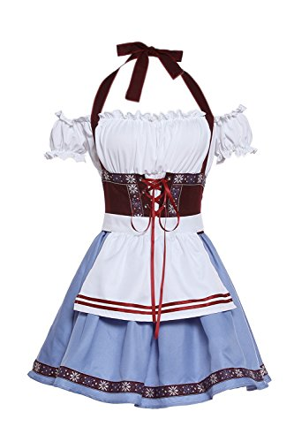 ROLECOS Womens Oktoberfest Costume Fraulein Bavarian Dirndl Dress Beer Girl German Bavarian Dress XL Blue]()