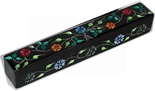 4Rissa Colored Flowers Hand-Carved Hand-Painted Soapstone Keepsake Memory Crystal Incense Stick Wand Storage Box (Stone Keepsake)