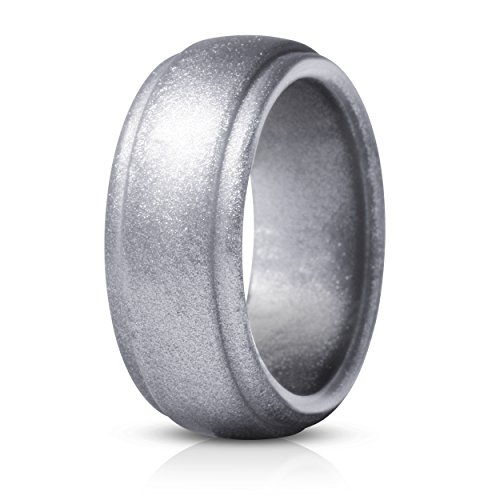 Saco Band Silicone Ring for Men Rubber Wedding Band - 1 Ring (Shiny Silver, 9.5-10 (19.8mm))