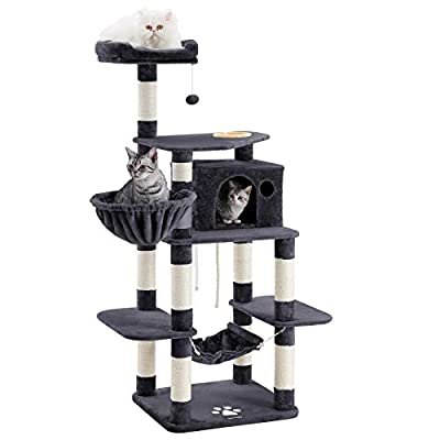 FEANDREA 68.5 inches Sturdy Cat Tree with Feeding Bowl, Cat Condos