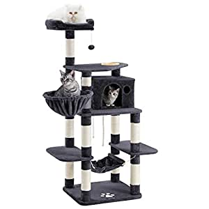 """FEANDREA SONGMICS 69"""" Multi-Level Cat Tree with Feeder Bowl, Sisal-Covered Scratching Posts, Activity Centre for Pets - Large, Smoky Gray UPCT99G"""