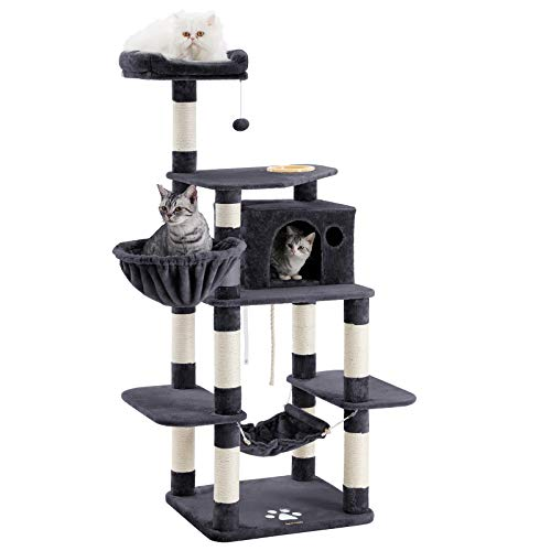 (FEANDREA 68.5 inches Sturdy Cat Tree with Feeding Bowl, Cat Condos with Sisal Poles, Hammock and Cave, Padded Platform, Climbing Tree for Cats, Extra Large, Anti-toppling Devices, Smoke Gray, UPCT99G)