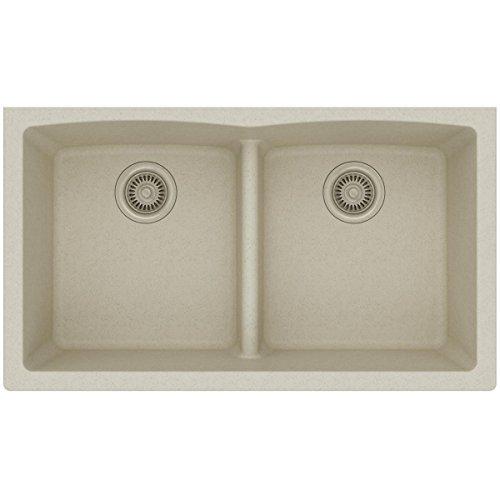 Elkay Quartz Classic ELGDULB3322BQ0 Equal Double Bowl Undermount Sink with Aqua Divide, Bisque