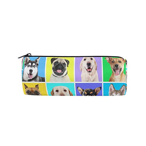 ALAZA Portraits of Cute Dogs Animal Pencil Pen Case Pouch Bag with Zipper for Girls Kids School Student Stationery Office Supplies by ALAZA