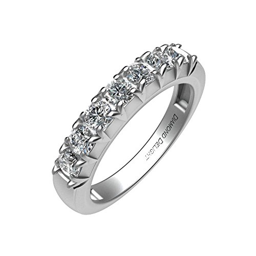 IGI Certified 14K Gold 7 Stone Prong Set Wedding/Anniversary Diamond Band Ring (1/2 Carat )