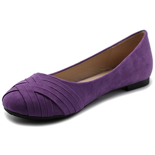 Casual Purple Women's Ollio Cute Comfort Flat Shoe Ballet w0wIURTq