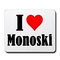 EXKLUSIV bei uns: Mousepad I Love Monoski in Weiß, eine tolle Geschenkidee...