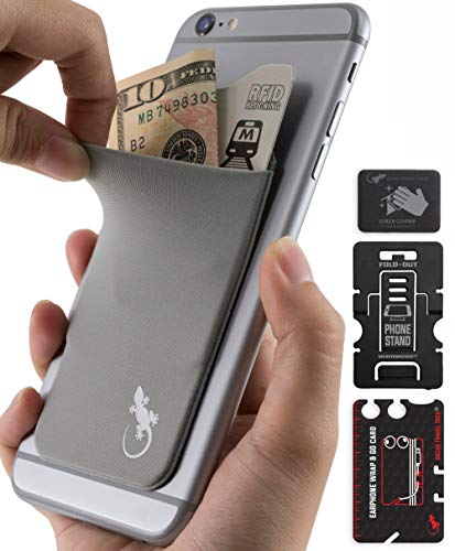 Cell Phone Card Wallet Stick on - Phone Holder for iPhone and Android - Credit Card ID Cash Cellphone Pocket - Gray