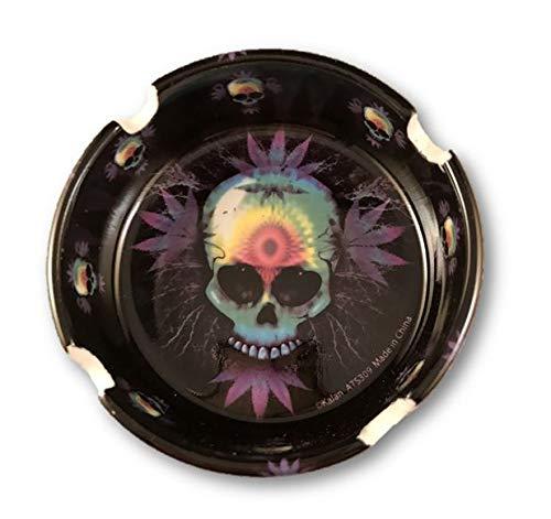 Rainbow Skull Pot Leaf Design Stone - Ashtray Leaf Pot