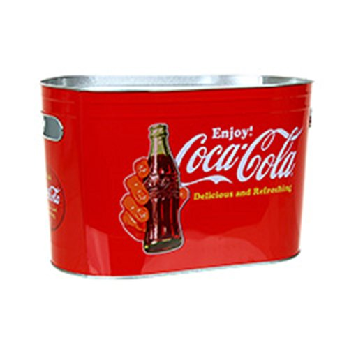 Coke Coca-Cola Vintage Look Oblong Metal Painted Ice Gift Bucket Tub Tote