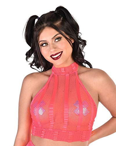 iHeartRaves Neon Coral Double Dare Striped Fishnet Halter Top (Medium)