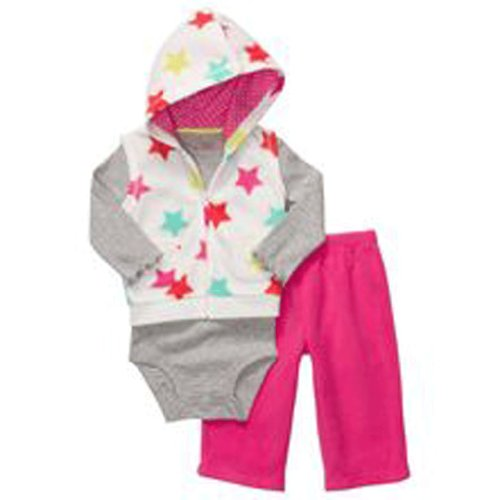 Carter's Newborn Girls Multi Stars Microfleece 3pc Hooded Vest Set
