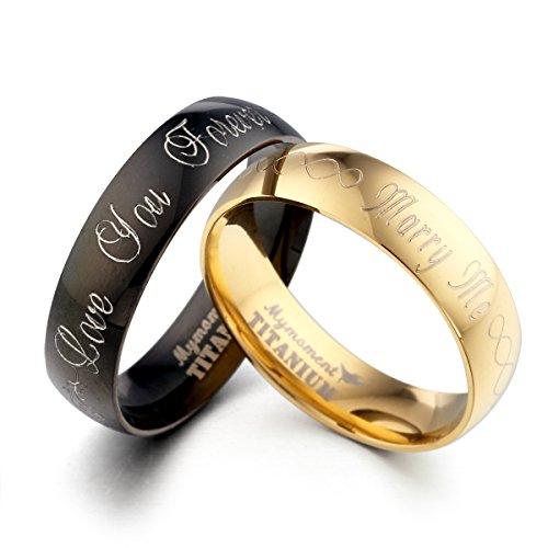GEMINI Alliances jeunes mariés, Alliance Or Jaune et Bague Coloris Noir, Ensemble Alliances en titane, Cadeaux de St Valentin Taille 46 à 78