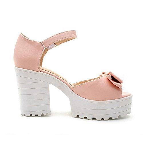 Allhqfashion Womens Zacht Materiaal Gesp Peep Toe Hoge Hakken Effen Platforms-sandalen Roze