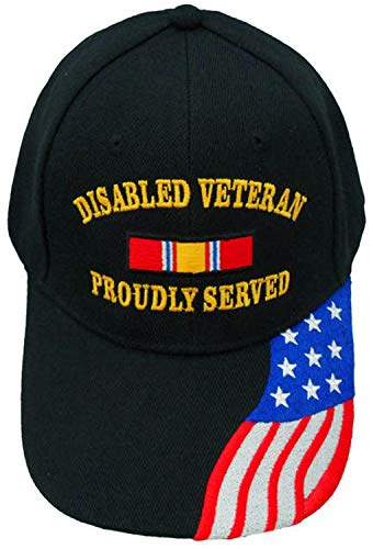 Desert Storm Medals - Disabled Veteran Cap Proudly Served Black Hat, American Flag