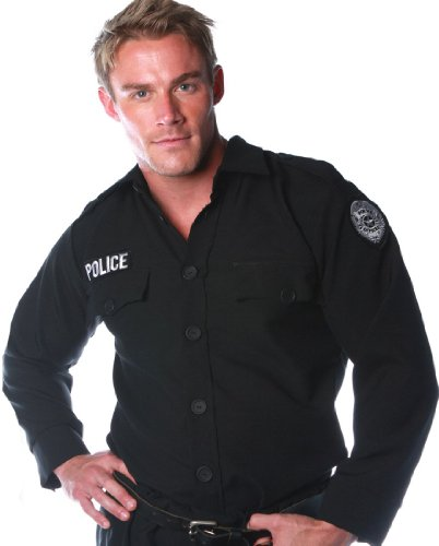 Underwraps Costumes Men's Police Costume - Shirt, Black, (Men Cop Costumes)