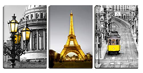(Xinqi art 3 Panels Modern Black and White Yellow Eiffel Tower Yellow Street Lamp Yellow Cable Car Canvas Wall Art, Ready to Hang for Living Room Bedroom Office (16X24inchX3pcs))