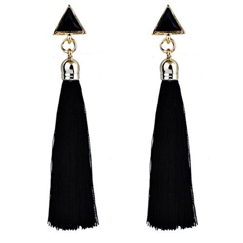 - ManxiVoo Women Bohemian Ethnic Hanging Rope Tassel Earrings Long Tassel Dangle Earrings Fringe Drop (Black)