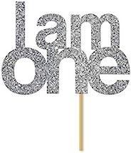 Silver Glitter 'I Am One' Cake Topper, First Birthday, 1st, Cake Smas