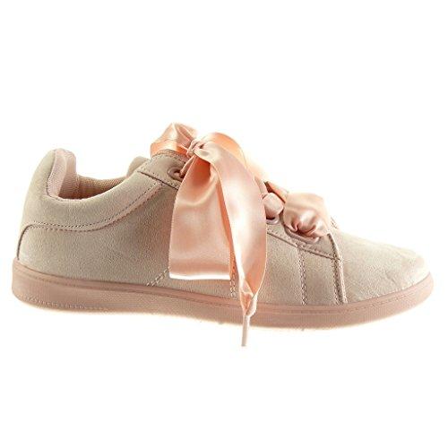 Angkorly Damen Schuhe Sneaker - Sneaker Sohle - Schnürsenkel Aus Satin Flache Ferse 2 cm Rosa