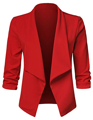 (JSCEND Women's Casual Stretch 3/4 Sleeve Open Front Blazer Cardigan Jacket A-RED L)