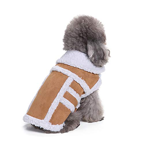 Pet Winter Warm Clothes,Dog Padded Thickening Imitation Deer Leather Jacket Costumes (Coffee, M) ()