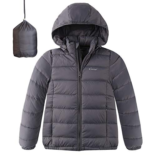 CUNYI Boys Girls Hooded Portable Lightweight Down Jacket Coats, Silver Grey, 5-6 T/ 120