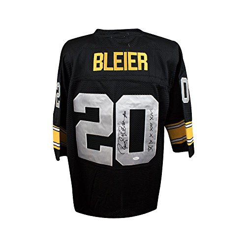 bc973d31b Rocky Bleier Autographed Pittsburgh Steelers Black Mitchell   Ness Football  Jersey - JSA COA