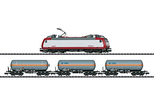 FREIGHT TRAIN STARTER SET W/DCC - MINITRIX -- LUXEMBOURG STATE RAILROAD CFL CLASS 4000 ELECTRIC, 3 CARS, OVAL, MOBILE STAT Dcc Starter
