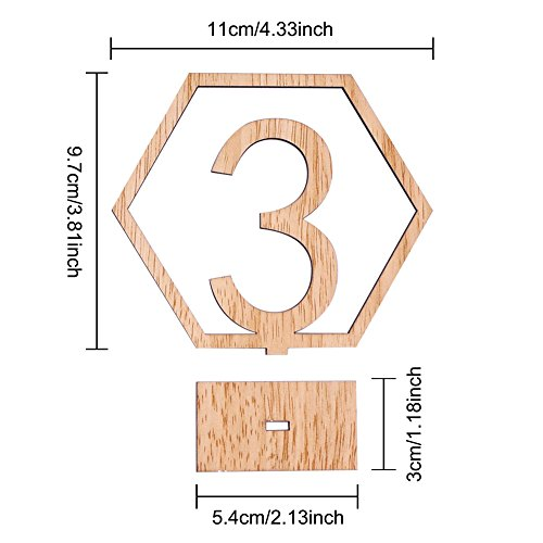 Rely2016 Wooden Table Number, 1-20 Wedding Wood Table Numbers Hexagon Geometric Reception Stands Décor for Wedding Banquet Birthday Party Events (1-20) by Rely2016 (Image #4)