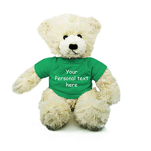 Plushland Cream Brandon Teddy Bear 12 Inch, Stuffed Animal Personalized Gift - Custom Text on Shirt - Great Present for Mothers Day, Valentine Day, Graduation Day, Birthday (Kelly Green Shirt)