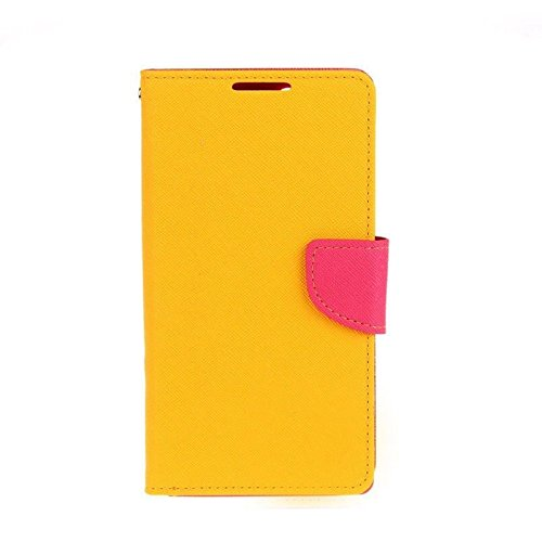 HEZONG Dual Color Deluxe Wallet Leather Flip TPU Stand Case Cover for Sony Xperia T2 Ultra XM50H Phone (Yellow+Rose)